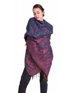 Velký zimní šál se vzorem paisley, růžovo-tyrkysový, 208x100cm