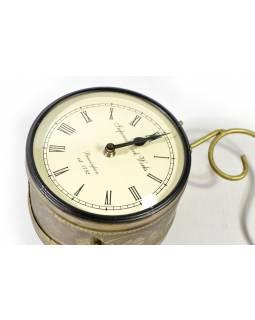 Oboustranné závěsné hodiny, zlatá, květinový motiv, zdobený mosazný plech, 18cm