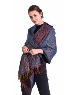 Velký zimní šál se vzorem paisley, vínovo-tyrkysový, 208x100cm