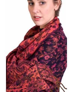 Velký zimní šál se vzorem paisley, tmavě fialovo-růžový, 208x100cm
