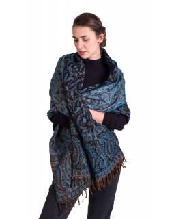 Velký zimní šál se vzorem paisley, tmavě modro-tyrkysový, 208x100cm