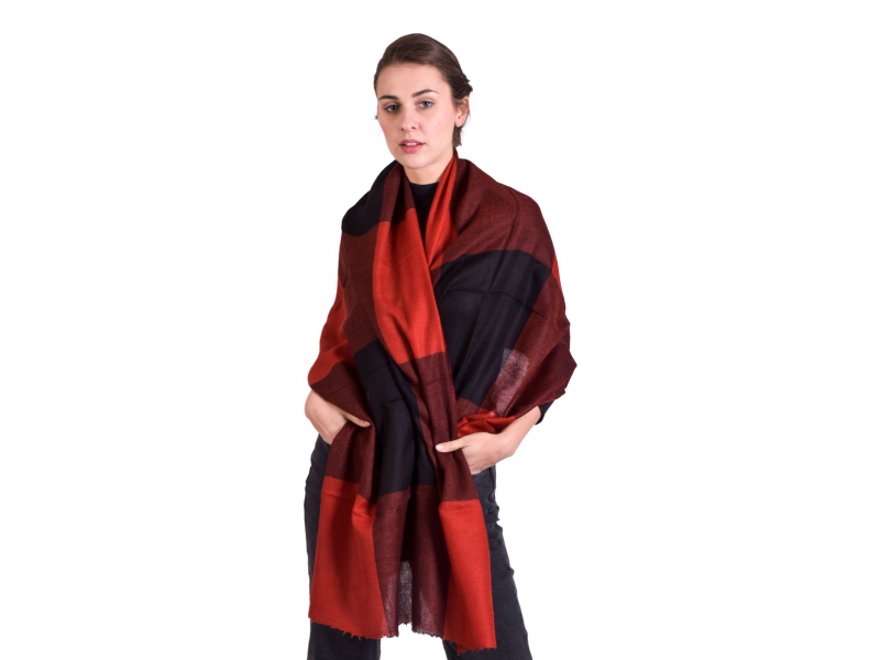 Luxusní šál z kašmírové vlny, červeno-černý, 78x200cm