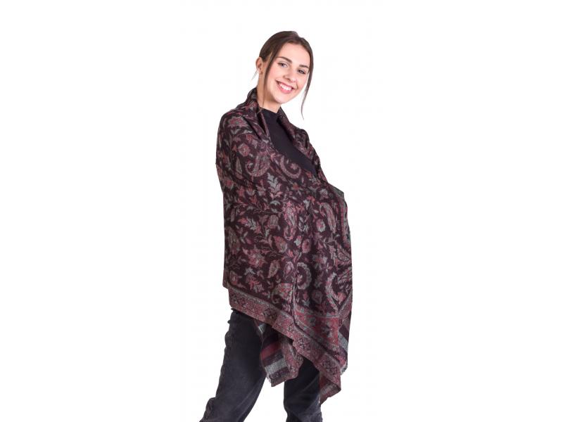 Luxusní šál z kašmírové vlny, barevný paisley vzor, černý, 73x194cm