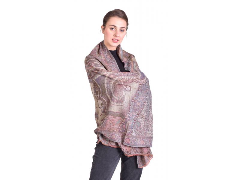 Luxusní šál z kašmírové vlny, barevný paisley vzor, vínový, 73x194cm
