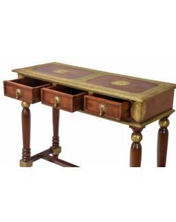 Konzolový stolek z palisandrového dřeva a kováním, 3 šuplíky, 107x40x81cm