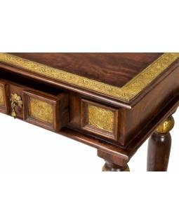 Konzolový stolek z palisandrového dřeva s kováním, 3 šuplíky, 121x40x80cm