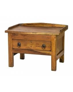 Starý kupecký stolek se šuplíkem z teakového dřeva, 58x38x44cm