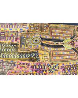 Písková patchworková tapiserie z Rajastanu, ruční práce, vyšívaná, 100x160cm