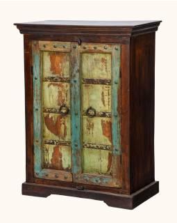 Skříňka z teakového dřeva s původními dvířky, 77x39x103cm