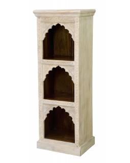 Knihovna z mangového dřeva, ruční řezby, 52x38x140cm