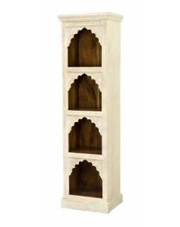 Knihovna z mangového dřeva, ruční řezby, 52x38x183cm