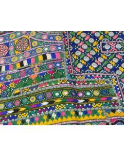 Multibarevná patchworková tapiserie z Rajastanu, ruční práce, 100x160cm