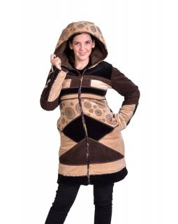 Hnědo-béžový sametový kabátek s kapucí, patchwork a Chakra tisk