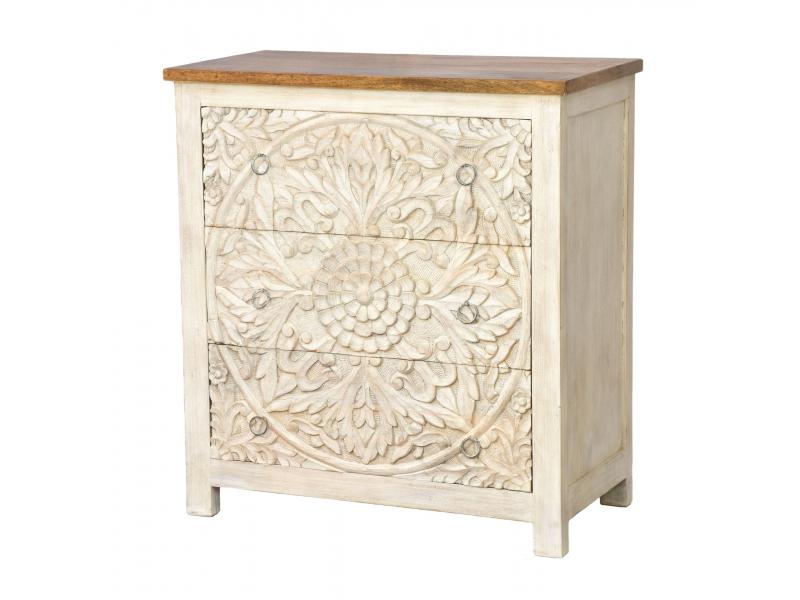 Komoda z mangového dřeva, ručně vyřezávané šuplíky, bílá patina, 83x43x90cm