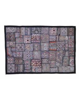 Stříbrná patchworková tapiserie z Rajastanu, ruční práce, 100x160cm