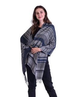 Velká šála, jemná vlna s bavlnou, šedo-modrá, jemný geometrický vzor, 73x178cm