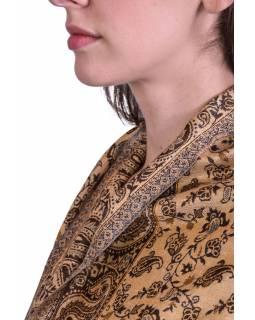 Velká šála, paisley vzor, hnědo-béžový, třásně, 73x194cm