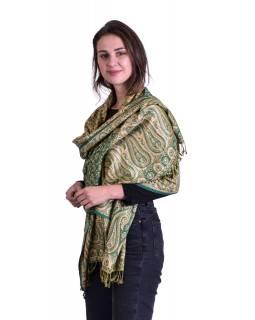 Velká šála, paisley vzor, zeleno-béžový, třásně, 73x194cm
