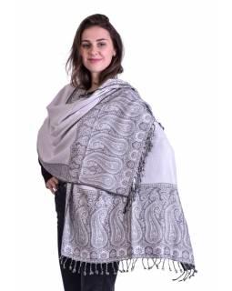 Velká šála, paisley vzor, šedo-bílý, třásně, 70x200cm