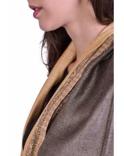 Velká šála, paisley vzor, šedo-béžový, třásně, 70x200cm