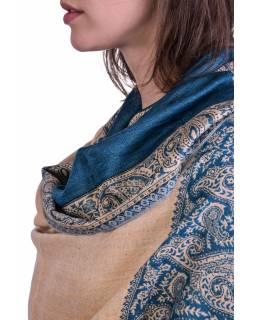 Velká šála, paisley vzor, modro-béžový, třásně, 70x200cm