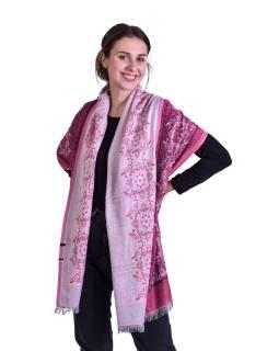 Velká šála, růžovo-fialový, orientální vzor, třásně, 70x190cm