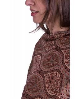 Velká šála, orientální vzor, béžovo-vínový, třásně, 72x200cm