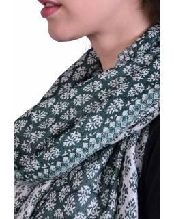 Velká šála, drobný vzor, smaragdově zeleno-šedá, třásně, 70x204cm