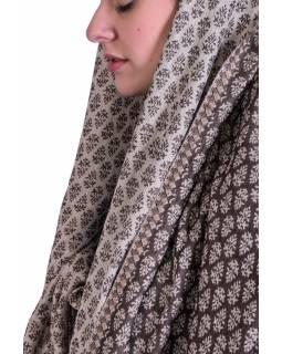 Velká šála, drobný vzor, hnědo-béžová, třásně, 70x204cm