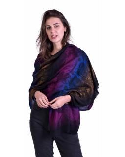 Luxusní šál z kašmírové vlny, barevný květinový vzor, černý podklad, 73x194cm