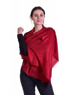 Luxusní šál z kašmírové vlny, červený s jemným nenápadným paisley vzorem, 75x205