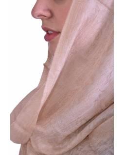 Luxusní šál z kašmírové vlny, béžový s jemným nenápadným paisley vzorem, 75x205