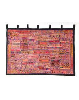 Oranžová patchworková tapiserie z Rajastanu, ruční práce, 108x161cm