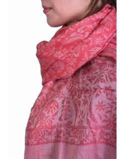 Luxusní šál z kašmírové vlny, červený s béžovým paisley vzorem, 75x205cm