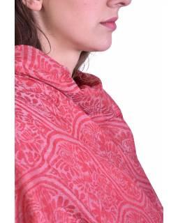 Luxusní šál z kašmírové vlny, červený s béžovým orientálním vzorem, 75x205cm