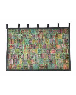 Zelená patchworková tapiserie z Rajastanu, ruční práce, 107x158cm