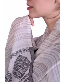Luxusní šál z kašmírové vlny, světle hnědo-béžový s jemným vzorem a proužky