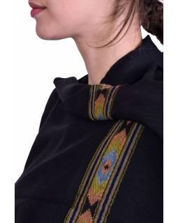 Luxusní šál z kašmírové vlny, barevný vzor v pruhu, černý, 72x200cm