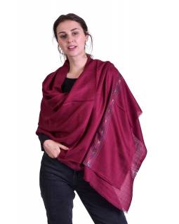 Luxusní šál z kašmírové vlny, barevný vzor v pruhu, vínový, 72x200cm