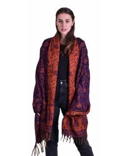Velký zimní šál se vzorem paisley, fialovo-oranžový, 208x100cm