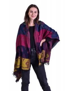 Velký zimní šál s barevným vzorem, fialový, 180x97cm