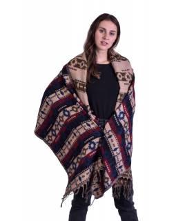 Velký zimní šál s barevným geometrickým vzorem, béžový, 200x95cm