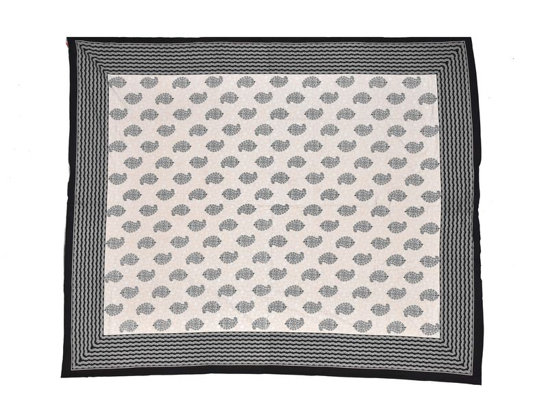 Krémový přehoz na postel, černý block print, 2 polštáře, 260x220cm