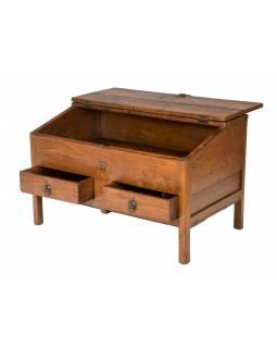 Starý kupecký stolek z teakového dřeva, 82x52x53cm