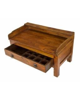 Starý kupecký stolek z teakového dřeva, 69x38x40cm