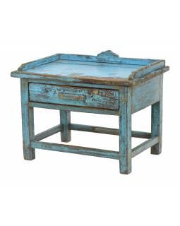 Starý kupecký stolek z teakového dřeva, 47x32x37cm
