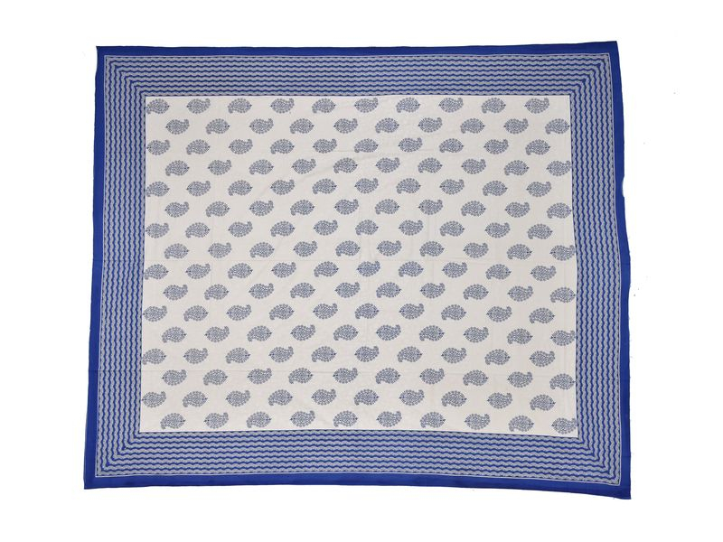 Krémový přehoz na postel, modrý block print, 2 polštáře, 260x220cm