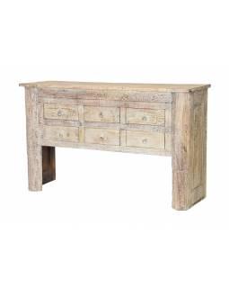 Konzolový stolek z teakového dřeva, šuplíky, 150x45x92cm