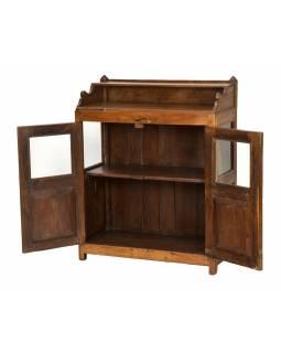Prosklená skříňka z teakového dřeva, 80x36x100cm