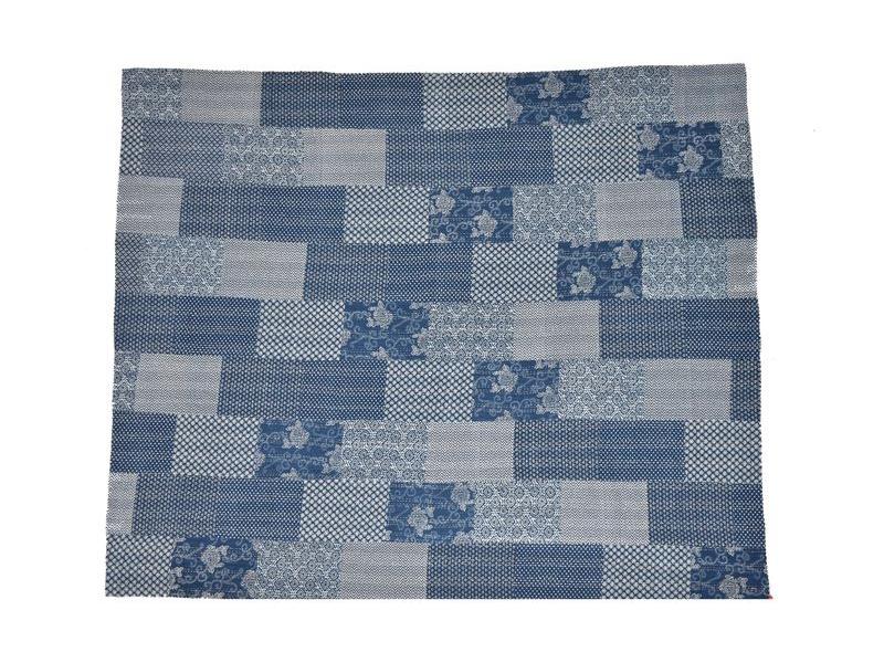 """Modrý přehoz na postel, """"Ajrak"""", block print, prošívaný, ruční práce, 260x220cm"""